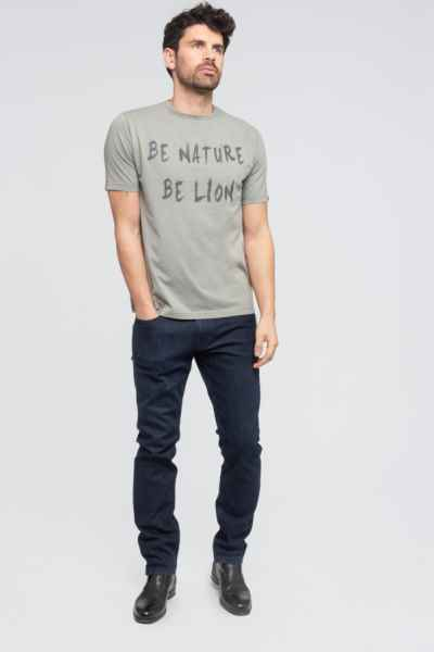 t shirt coton bio homme Green Lion